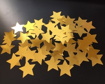 Stars - Confetti, 25 Gold Stars, Die Cut, Party, Table Decorations, Scrapbooking, Embellishment, Graduation, Wedding, Crafting, Christmas
