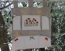 Hand embroidered pocket organizer, linen wall pocket organizer, floral pocket organizer, six pocket wall decoration