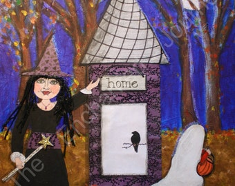 Trick or Treat! Mixed Media Halloween Witch & Ghost, S+H INCLUDED