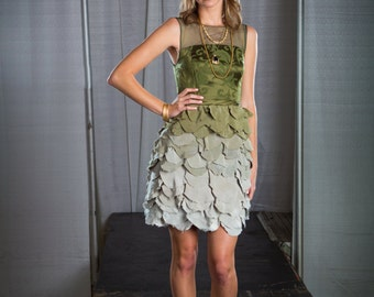 Janay Marie Designs - Little Green Dress with Ombre Scalloped Skirt and Illusion Neckline, Fashion Show Sample