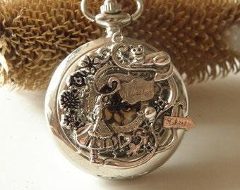 Antique silver Alice's Adventures in Wonderland Pocket Watch Necklace flower necklace