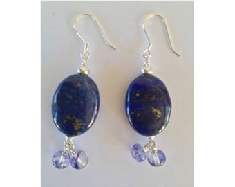 Lapis Earrings with Glass Beads in Sterling Silver