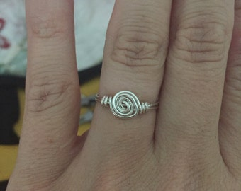 Swirl Wire Ring, Silver wire wrapped ring