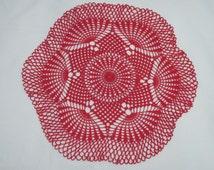 Round red crochet centrepiece D 35 cm