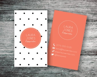 Business Card, Black & White Polka Dots (Digital File)