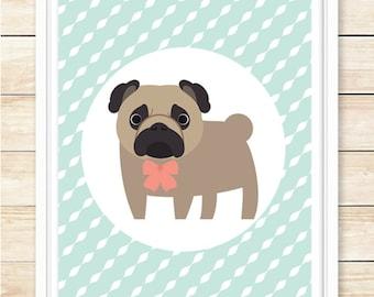 Pug Print, Pug Illustration, Pug, Printable Wall Art, Pug Decor, Pug Printable, Pug Poster, Pug Art, Dog Print, Dog Poster, coffeeandcoco