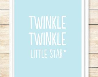 Twinkle Twinkle Little Star Print, Nursery Decor, Nursery Wall Art, Typography Poster, Star, Playroom Wall Art, Blue, coffeeandcoco