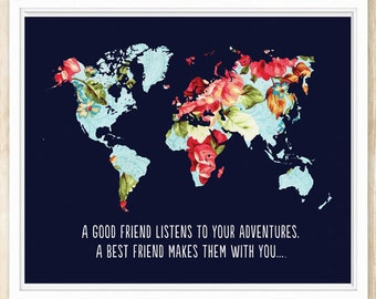 Large World Map Print, Best Friend Gift, A Good Friend Listens.., Art Print, Printable Wall Art, World Map Printable, coffeeandcoco