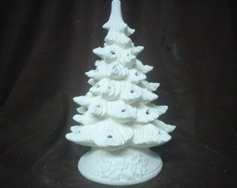"""Ceramic Bisque  9 1/2"""" Nowell's Tree with Holly Base -No Hole For Star- Unpainted Ready to Paint - E585"""