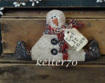 Primitive Christmas Little Snowman Ornament Ornie Ornies Bowl Filler