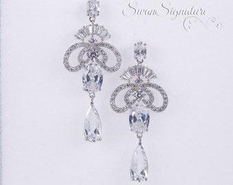 Wedding Earrings Zirconia Earrings Wedding Jewelry Bridesmaid Earrings Bridesmaid Accessories Dangling Teardrop Earrings stl113
