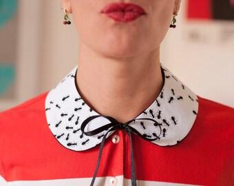 Black ants pattern cotton Peter Pan collar