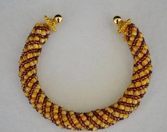 Beaded Spiral Bangle Bracelet