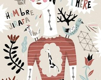 Male giraffe. Art print