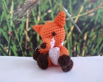 Volpe, the little fox, crochet key chain, 8cm/3.1 inch