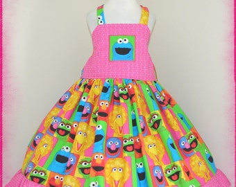 Cookie Monster Dress - LQBD Boutique - RTS fits approx 4T 4/5 - Birthday Party - Ruffles