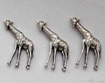 3pcs--Girafe, Metal Stamping, Antique Silver,18x25mm (B10-8)