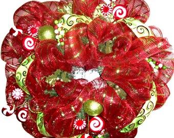 Christmas Wreath front door, Mesh Christmas Wreath, Red Wreath, Peppermint Christmas wreath