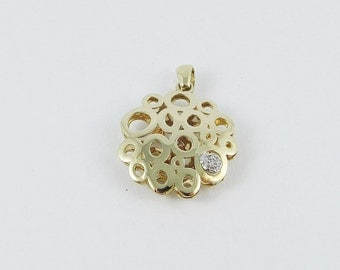 14 kt Yellow Gold Pendant , Diamonds,