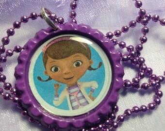 Doc McStuffins necklace - doc McStuffins bottle cap necklace - bottle cap jewelry -handmade jewelry