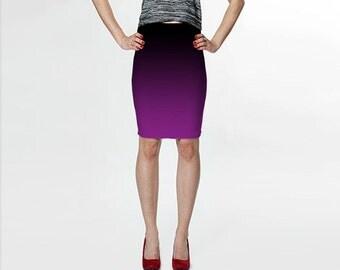 Purple and Black Skirt, Ombre Skirt, Purple Skirt, Magenta Pencil Skirt Knee Length Skirt Printed Designer Skirt Womens Clothing Short Skirt