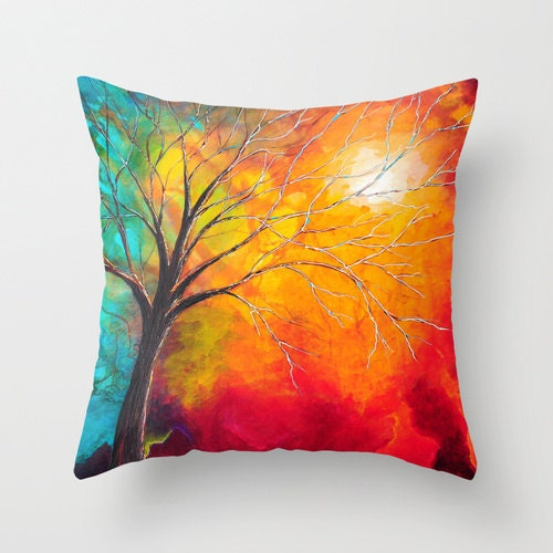 Red and Teal Decorative Pillow Solid Color by DesignbyJuliaBars