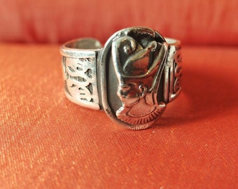 Antique Egyptian Silver Ring Band Adjustable of Ancient KING RAMSES II_Stamped