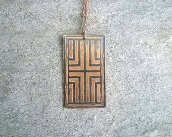 Etched Copper Pendant, Antiqued Copper Necklace, Etched Copper Jewelry, Oxidized Copper Pendant Necklace, Geometri, Cross Pattern