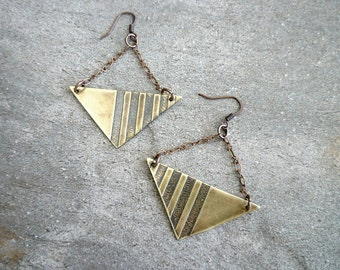 Etched Brass Earrings, Antiqued Brass Earrings, Etched Brass Jewelry, Oxidized Brassr Earrings, Geometric, Abstract, Copper Chain, stripes