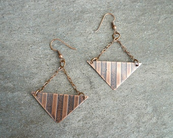 Etched Copper Earrings, Antiqued Copper Earrings, Etched Copper Jewelry, Oxidized Copper Earrings, Geometric, Abstract, Copper Chain,stripes