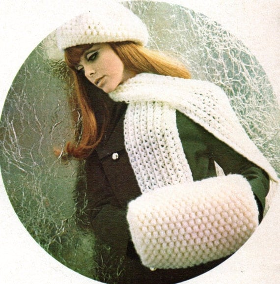 Free Crochet Pattern For Hand Muff : Vintage Muff Hand Warmer Scarf and Beret Crochet Pattern Woman