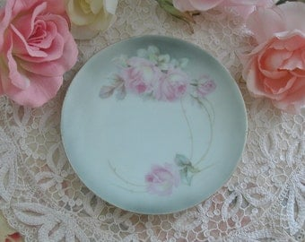 German Porcelain Hand Painted Pink Roses Plate