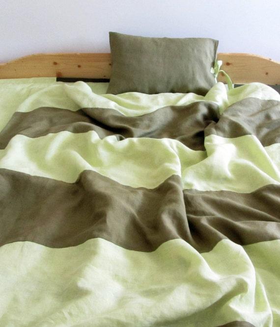 Housse de couette et taies d 39 oreillers assorties vert anis - Mettre housse de couette ...