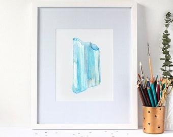 Watercolour Aquamarine Gemstone 8x10 Art Print