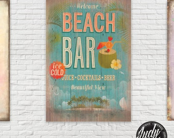 Vintage / wooden Sign Old Style Wall Decor BEACH BAR poster