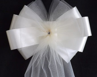 10 x Fluffy Tulle Wedding Pew End Bows - Choice of Colour