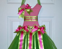 Lime Green and Hot Pink Chevron Tutu Bow Holder and Clip Holder Baby Shower Gift Birthday Gift Hair Accessory Oraganizer