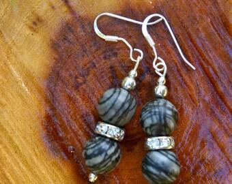 Black Marble with Crystal Rhinestone Dangle Earrings