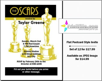 Oscar Awards Party Invitations Set of 12