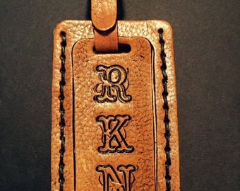 Hand-Tooled Personalized Leather Luggage Tag