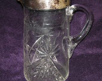 Vintage, Cut Glass Jug/Pitcher, Sterling Silver Rimmed.