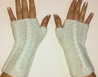 White Knit Gloves, Knit Fingerless Gloves, Arm Warmer, Winter Fashion Accessory..