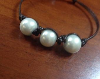 Triple beaded leather bracelet