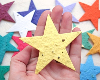 Seed Paper Stars - Plantable Place Cards - Flower Seed Wedding Favors - DIY Favors Kids Birthday Parties