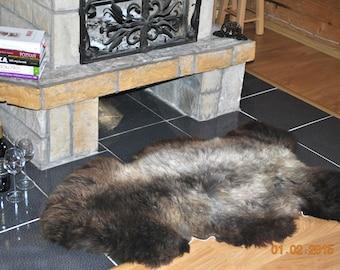 Sheepskin. Giant XXL Grey/Brown Natural Sheepskin Rug. Super Soft Silky Long Wool.
