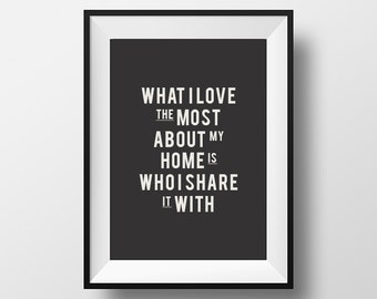Home Art, Decor, Wall, Art, Print, Poster, Motivational, I love most, about my, home, Printable, Quote, Home Print, Typography