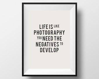Inspirational, Quote, Print, Quote Poster, Life is like photography we need negatives to develop, Printable, Wall Decor, Download, Instant