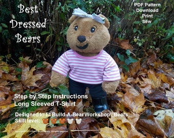 TShirt Sewing Pattern Fits 'Build-A-Bear' Workshop® Bears.  PDF Pattern to download & Print. Full size pattern pieces.