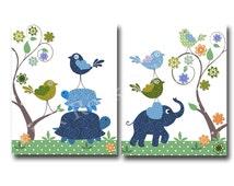 Blue elephant nursery art blue bird nursery wall art for baby boy room decor play room decor nursery artwork kids room decor children art