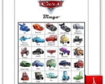 20 Printable Disney Cars Bingo Cards & Memory Game